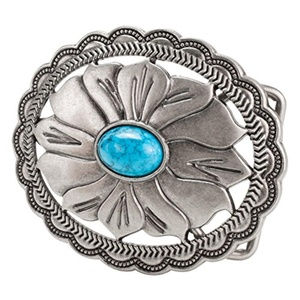 Buckle Rage Flower Belt Buckle Synthetic Turquoise Stone Silver