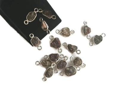 2 Pcs Dauble Loop Brown Diamond Connector, 925 Silver, Raw Rough Uncut Diamond Connectors, 7mm Each