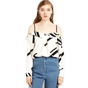 Rain's PanWomen's Off Shoulder Backless Camisole Top Casual Long Sleeve Blouse (US XS=Asia M)