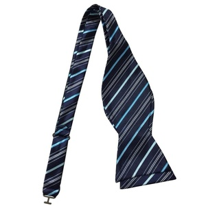 Ainow Classic Polka Dots Bowties Woven Microfiber Self Tie Bow Tie - Various Colors (Navy Sky Blue Striped)