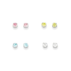 .925 Sterling Silver 3 MM Stellux Crystal 4pc Set Post Stud Earring