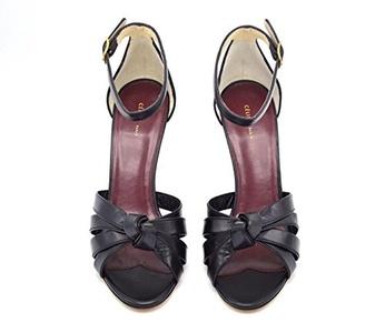 Celine Womens Round Toe Ankle Strap Black Open Toe Sandals Size 37 / 7