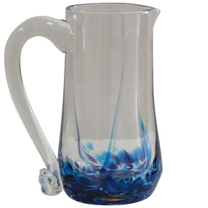 Irish Handmade Round Glass Pitcher with Handle by Jerpoint Glass Ireland. 9 inches tall with 40oz capacity (Blue Heather)