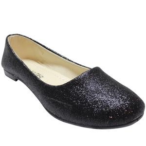 Women's Fashion Ballet Flats Glitter Round Toe Slip On Shoes, Black, 6 B(M) US