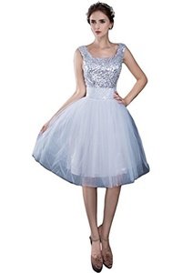 Avril Dress Elegant Lace up Homecoming Cocktail Tulle Sequins Knee Length Bridesmaid Prom Ball Wedding Party Dress New-8-White