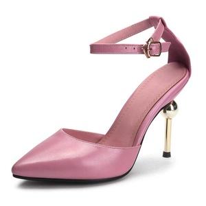VASHOP Women's Fashion High Heel Closed Toe Ankle Strap Stiletto Dress Sandals Shoes,Black/6