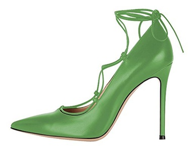 Maikool Women's High Stiletto Heel Big Size Court Shoes Pointed Toe Dress Lace-up Pump for Wedding Party Dress 10 M US Green