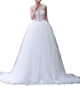 OLadydress Women's Strapless Applique Tulle Lace Up Long Wedding Dress for Bride Ivory US08