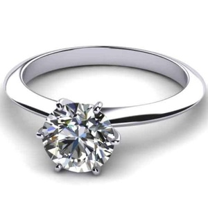 2.80 CT ROUND CUT CUBIC ZIRCONIA SOLITAIRE ENGAGEMENT RING SIZE 7 WHITE GOLD PLATED