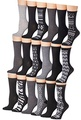 Tipi Toe Women's 18-Pairs Colorful Patterned Crew Socks (Monochrome)