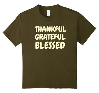 Kids Thankful Grateful Blessed Amazing Holy Christian T Shirt 12 Olive