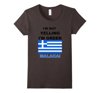 Women's I'm not Yelling I'm Greek T-shirt. Small Asphalt