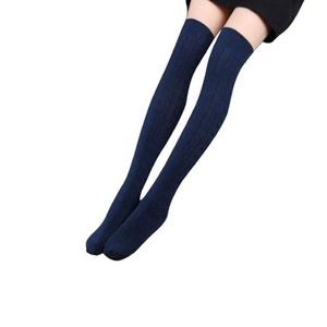 Socks ,NOMENI Women Cotton Knit Over Knee Stocking Spiral Pattern High Socks (Navy)