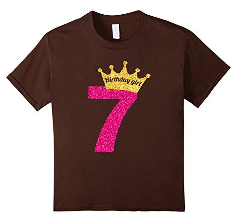 Online Store Kids Princess Crown Glitter Inspired 7th Birthday T Shirt 4 Brown
