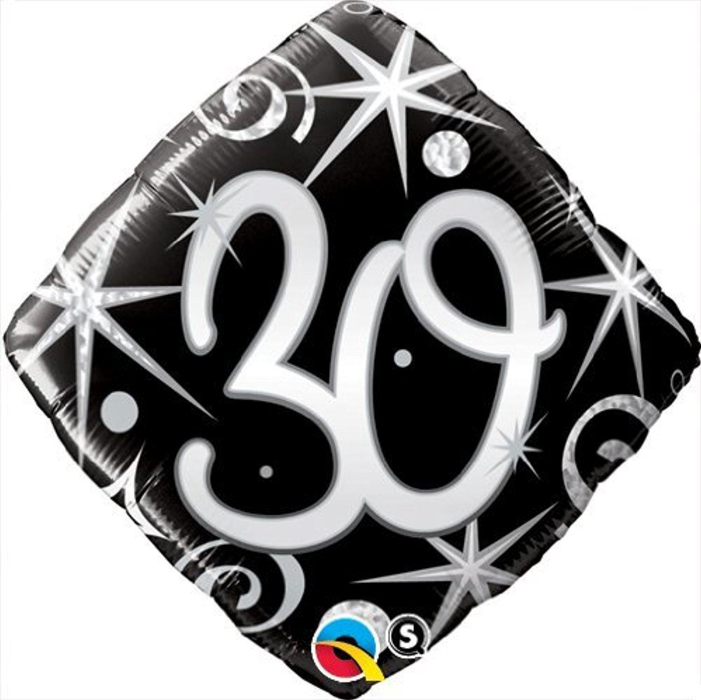 Qualatex Black & Silver Elegant Sparkles & Swirls 30th Birthday 18 Foil Balloon by Black/Silver/White Balloons & Decorations