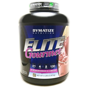Bundle - 2 Items : 1 Elite Gourmet Strawberry Protein by Dymatize - 5 Pounds and 1 VDC Shaker Cup