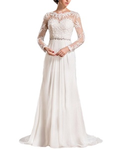 Meledy Women's Appliques Long Sleeves Scoop Wedding Dress Lace Gown Full Back For Bride Ivory US10