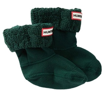 Hunter Cable Knit Cuff Fleece Welly Socks for Boots (Kid) Xsmall - Dark Malac