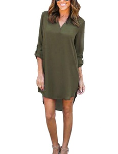 Women's V-Neck Chiffon Cuffed Sleeve Casual Loose Blouse Mini Dress Shirt Dress (Medium, Green)