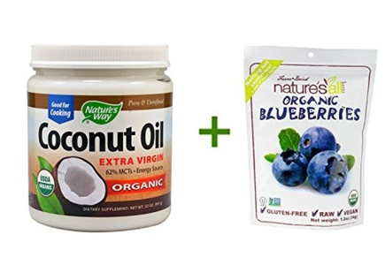Nature's Way Organic Extra Virgin Coconut Oil -- 32 fl oz, ( 2 PACK ), Nature's All Foods Organic Freeze-Dried Raw Blueberries -- 1.2 oz
