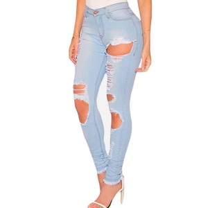 Light Denim Destroyed Frayed Hem Skinny Jeans L