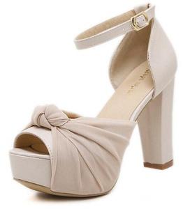 CHFSO Women's Elegant Bow Peep Toe Buckle Ankle Strap High Chunky Heel Platform Sandals Apricot 7 B(M) US