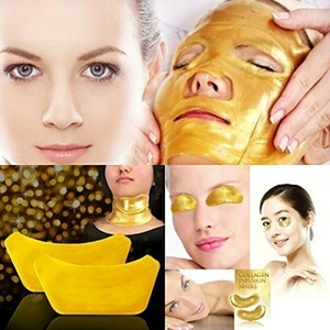 ONE1X - 1Set FACE,EYE,NECK Crystal 24K Gold Powder Gel Collagen Mask Masks Sheet Patch, Anti Ageing Aging, Remove Bags, Dark Circles & Puffiness, Skincare, Anti Wrinkle, Moisturising, Moisture, Hydrating, Uplifting, Remove Blemishes & Blackheads Product. Firmer, Smoother, Tone, Regeneration Of Skin. Suitable For Home Use Hot or Cold. by ONE1X