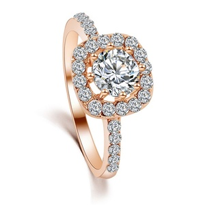 Slyq Jewelry New Fashion Elegant Luxury Charm Crystal Ring jewelry gold-plated Wedding Bride Accessories M12