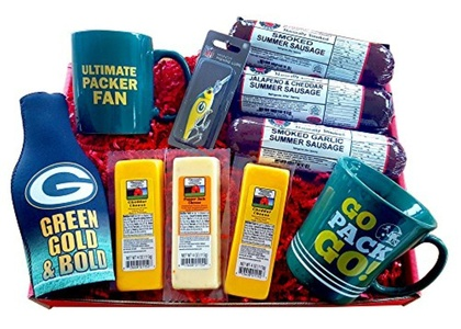 WISCONSIN'S BEST and WISCONSIN CHEESE COMPANY - GREEN BAY PACKER FAN DELUXE FISHING Gift Basket - features Smoked Summer Sausages, 100% Wisconsin Cheeses and Packer Novelties - Perfect Gift