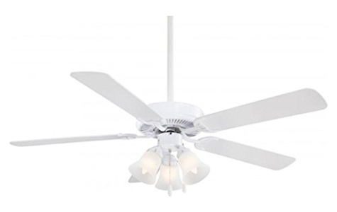 White Contractor 5 Blade 52In. Ceiling Fan With Blades And 3 Bulb Integrated Light Kit Included