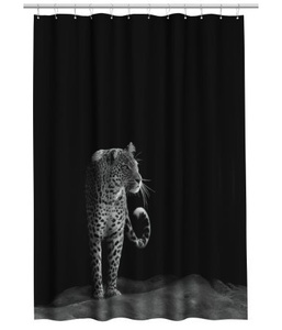 Leopard Printed Black Shower Curtain