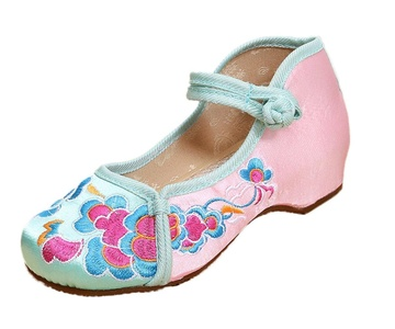 Soojun Girls Peony Embroidery Casual Mary Jane Shoes Walker, US 3 Green Pink