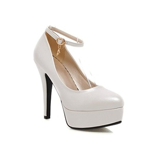 Levory J Women High Heels Platforms Pointed Toe PU Leather Buckle Pumps Shoes (10, White-2)