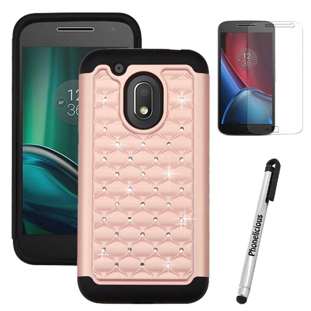 first rate 592ad 59547 Motorola G4 Play (Verizon) Case, Phonelicious Studded Diamond 2 In 1 Hybrid  Dual Layer Bling Rhinestone Hard Protector Phone Case Cover, Screen ...