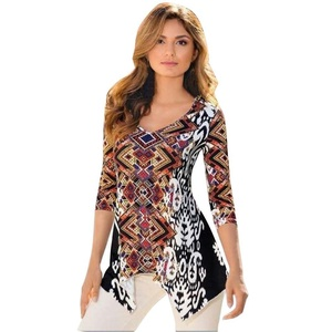 Irregular Hem Tops, Misaky Floral Printed Casual Blouse Shirt T-shirt (S, Colorful)