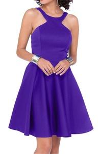 Gorgeous Bridal Satin Simple Mini Bridesmaid Cocktail Dress Prom Party Dress- US Size 14