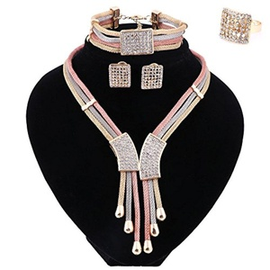 Wedding Crystal 3 Color Necklace African Beads Bridal Ring Bracelet Earrings Jewelry Sets