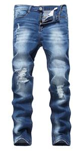 Men's Blue Skinny Ripped Destroyed Distressed Slim Fit Denim Jeans