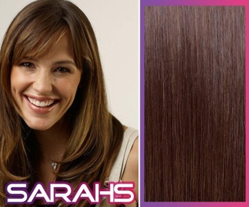 Clip in Synthetic Hair Extensions - Chocolate Brown (4) - 14 inch Long - 120g Hair weight by Sarahs Hair Extensions