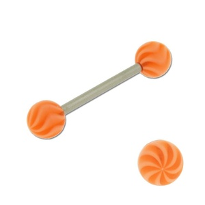 Acrylic Barbell Tongue Ring with Orange Spiral Ball