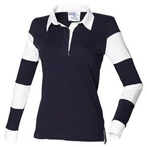 Front Row Ladies Striped Sleeve Rugby Shirt FR103 Navy/White M by Front Row