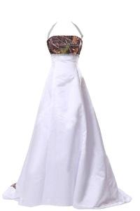 FASHION DRESS Train Empire camo dress Wedding Gown Evening Dress Long 22