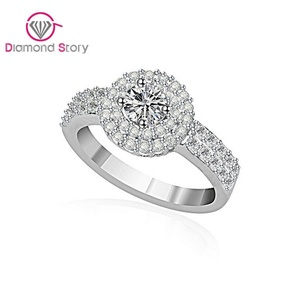 Cherryn Jewelry Sparkling Cubic Zirconia Pave Halo Design White Gold Plated Bridal Wedding Engagement Ring White Gold Jewelry