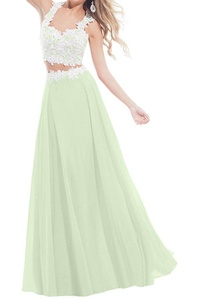 MILANO BRIDE Unique Two-Pieces A-line Applique Chiffon Long Prom Party Dress-2-Sage