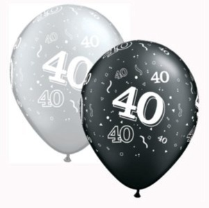 Qualatex 25 x 11 40th Birthday Latex Helium Balloons - Black/Silver - Decoration #201301 by Qualatex