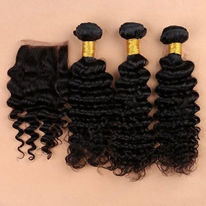 Slove Lace Closure with 3 Bundles Brazilian Human Virgin Hair Extension Deep Curly Remy with 4x4 inches Top Closure Pieces Free Part Unprocessed Natural Color 16 18 20 Closure 14