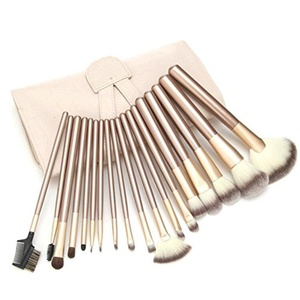 BeautyKate 18Pcs Professional Makeup Brushes Set Cosmetic Kabuki Powder Eyeshadow Lip Face Brush Kit With Leather Travel Pouch Bag Case