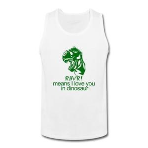 ZhiBo Men's Rawr Means I Love You in Dinosaur Custom Tank tops White Large Man
