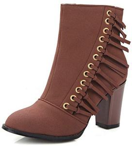 Summerwhisper Women's Trendy Fringe Round Toe Booties Side Zipper Block High Heel Ankle Boots Brown 10 B(M) US
