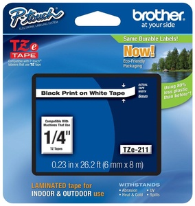 Genuine Brother TZe Black on White P-touch Tape, Laminated with Split Backing blk/wht